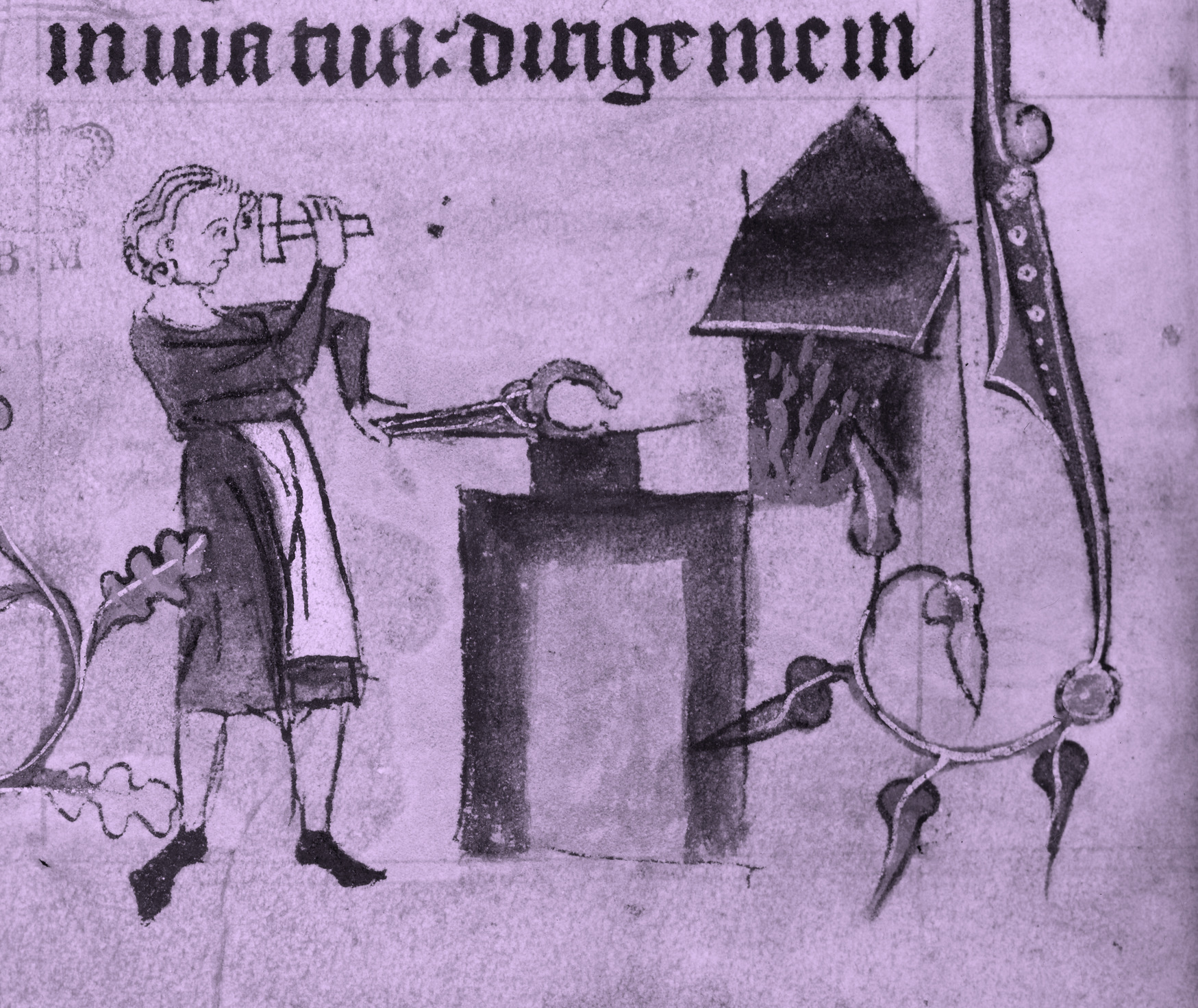 Book of Hours - caption: 'Marginal bas-de-page detail showing a farrier at work in front of his forge, striking a horse shoe, held by pincers on an anvil, with a hammer'